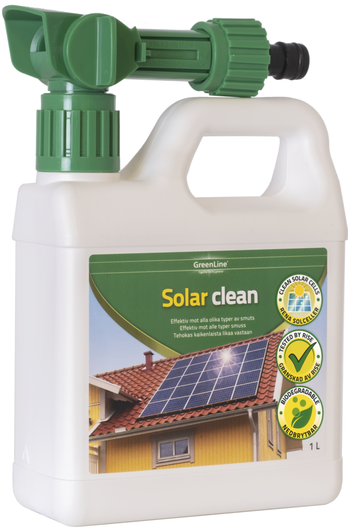 SolarClean är på 1 liter och rengör solceller på ett enkelt, effektivt och säkert sätt. Effektivt mot alla olika typer av smuts. Appliceras enkelt med hjälp av den medföljande ejektorn. Lågskummande och lätt att skölja bort. Rengöring med SolarClean ökar solcellernas effektivitet. Biologiskt nedbrytbar. Testad av RISE. Räcker upp till 75 m2.